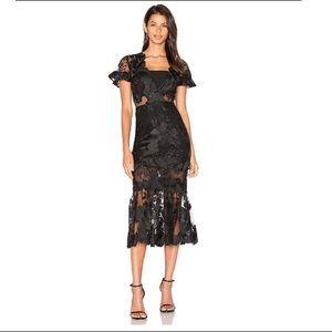 Three Floor Floral Feeling Dress in Black Revolve